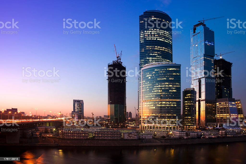 Cityscape with skyscrapers, Moscow river and bridge royalty-free stock photo