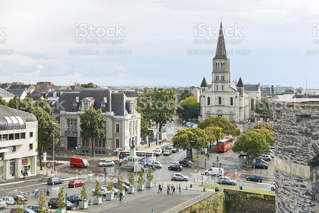 cityscape with St Laud's Church in Angers, France stock photo