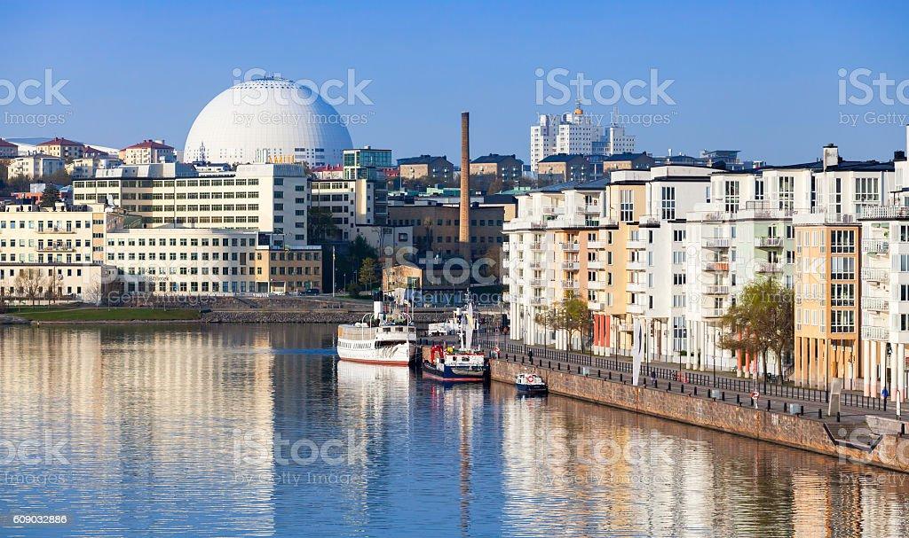 Cityscape with Stockholm Globe Arena stock photo