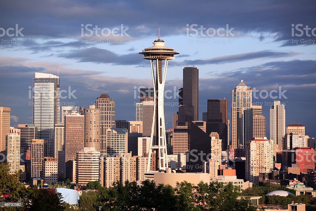 Cityscape with the Space Needle in Seattle Washington stock photo