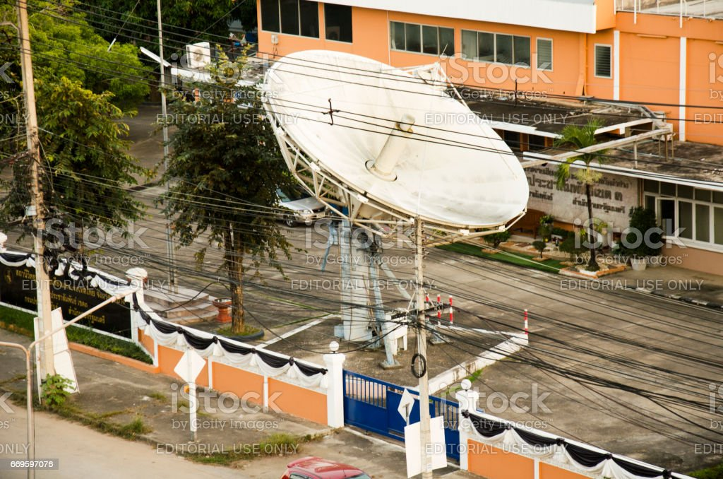 Cityscape with traffic road and Broadcasting Services station Lampang city stock photo