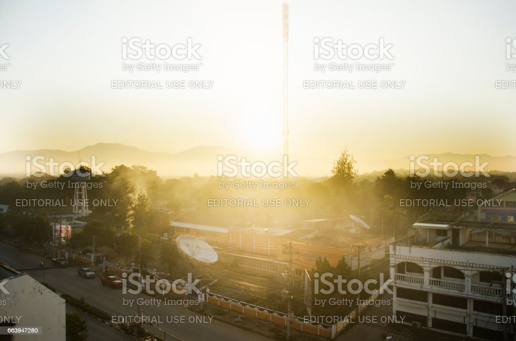 Cityscape with traffic road of at tower artesian aquifer stock photo
