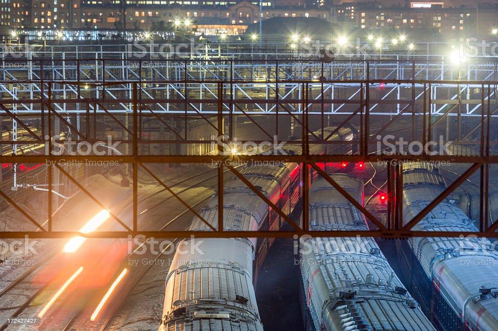Cityscape with train tracks royalty-free stock photo