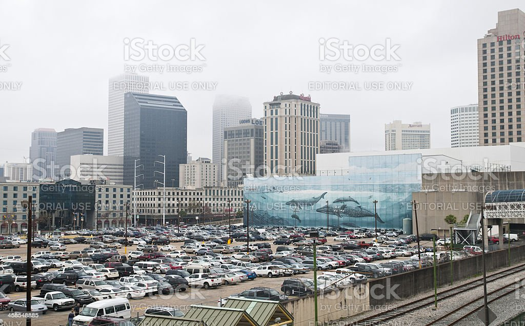 Cityscape with Whaling wall in New Orleans stock photo