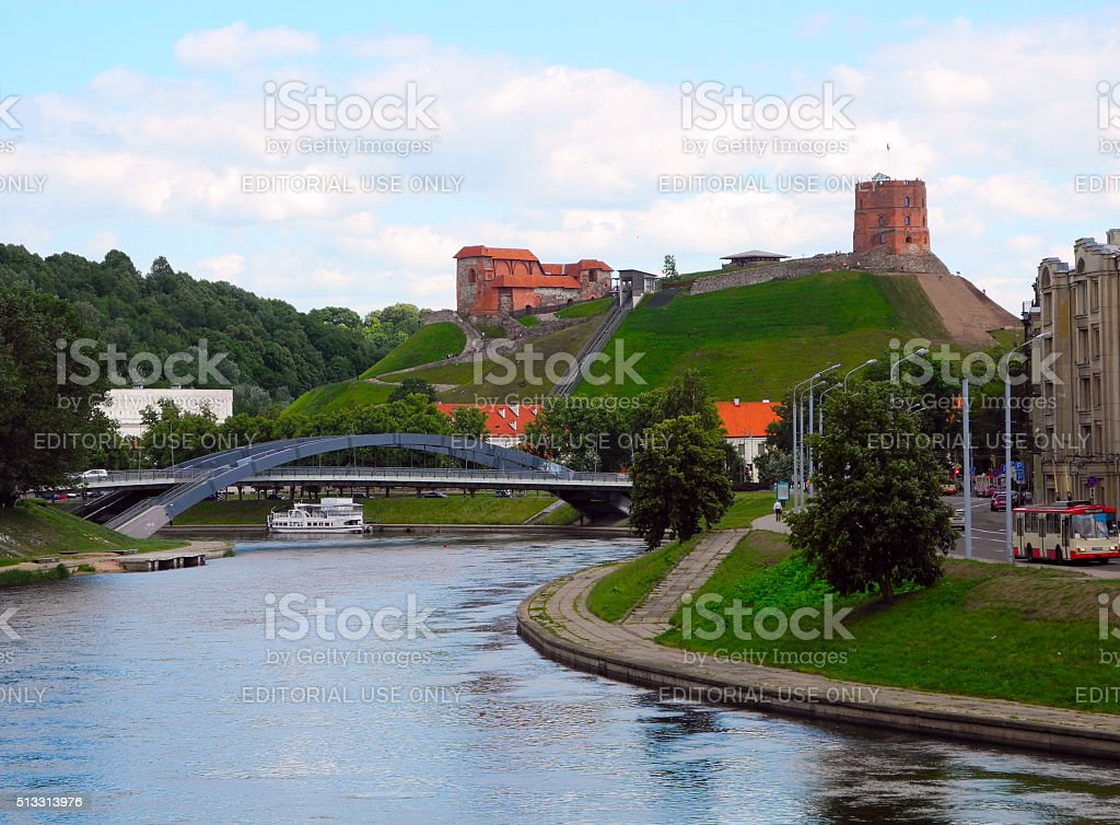 Cityscapes center Vilnius, Tower and Hill Gedeminosa. stock photo