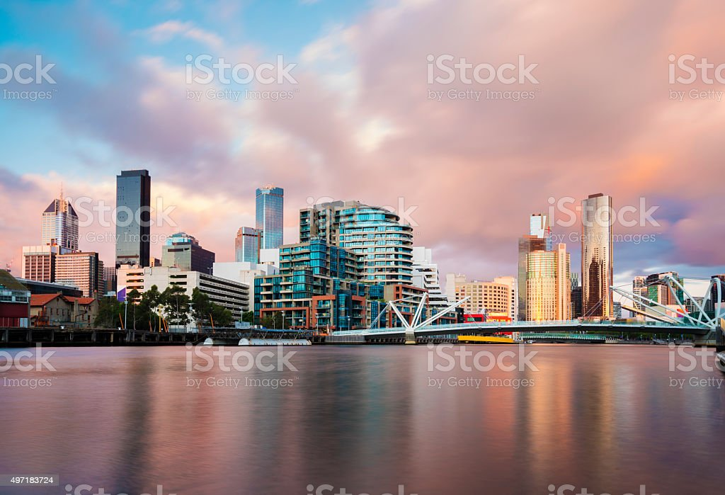 Cityspace at sunset stock photo
