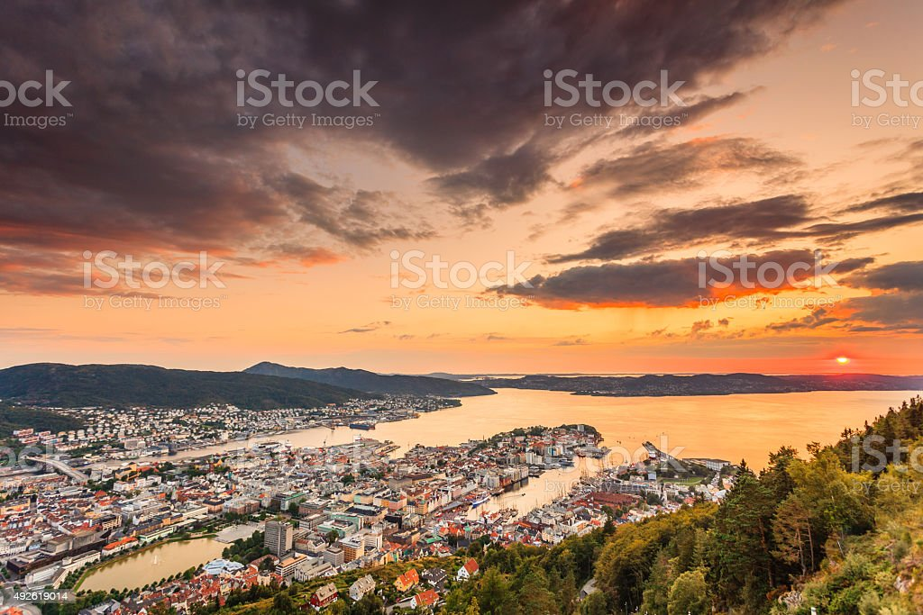 Cityspace of Bergen, panoramic view stock photo