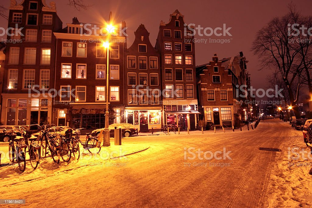 Cityview from Amsterdam in the Netherlands covered with snow royalty-free stock photo
