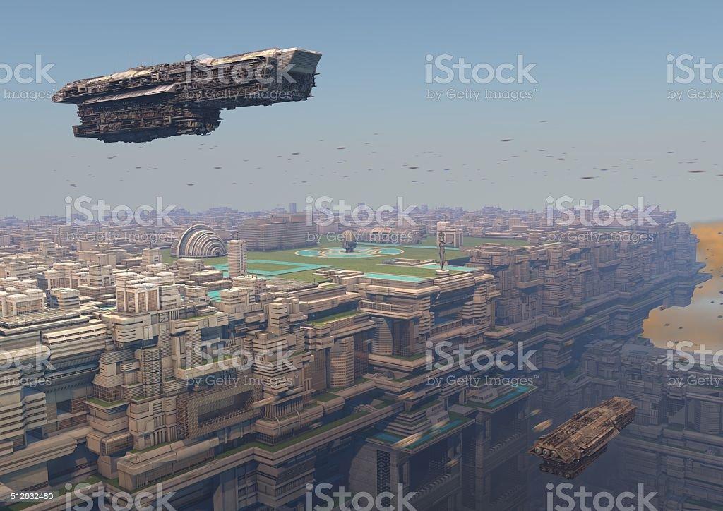 ciudad futurista celestial stock photo