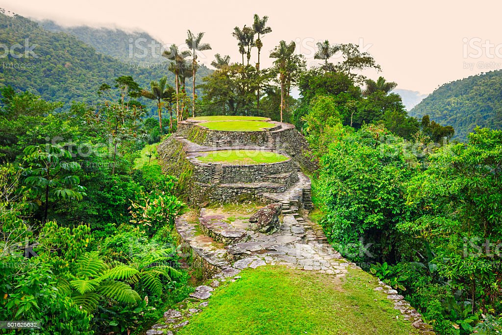 Ciudad Perdida Lost City in Colombia Sierra Nevada stock photo