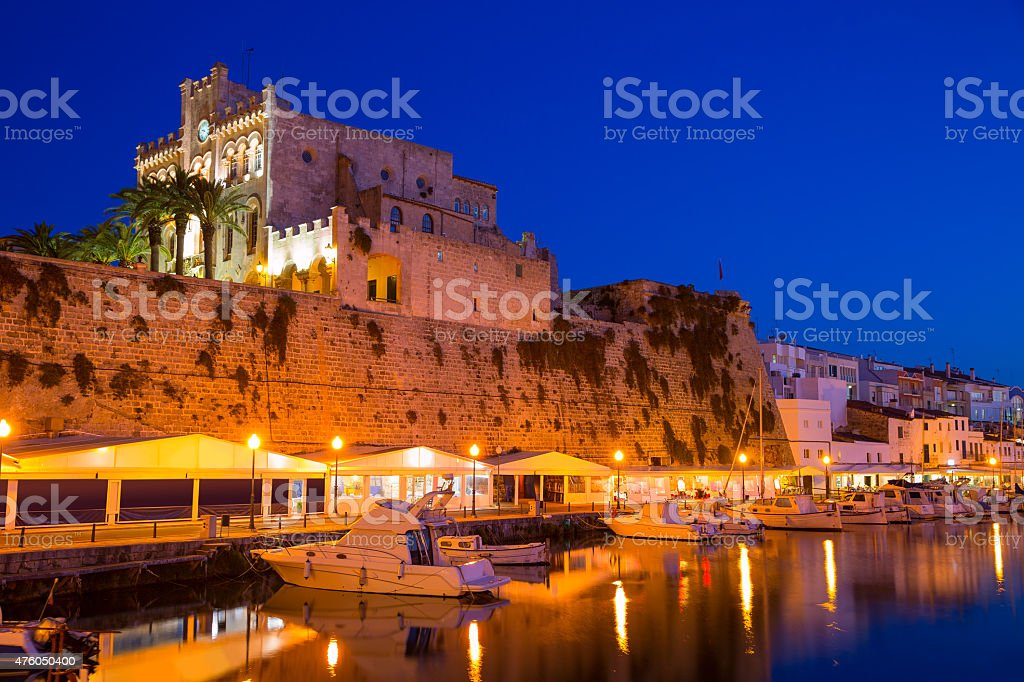 Ciutadella Menorca city town Hall and Port sunset stock photo