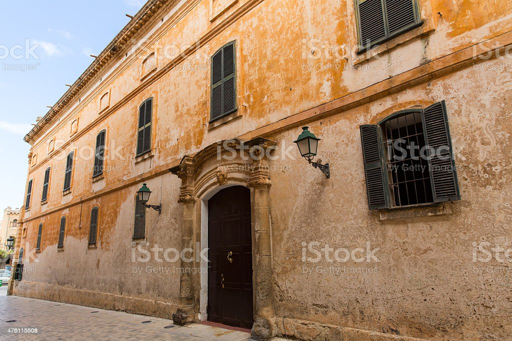 Ciutadella Menorca Major street in Ciudadela at Balearic stock photo