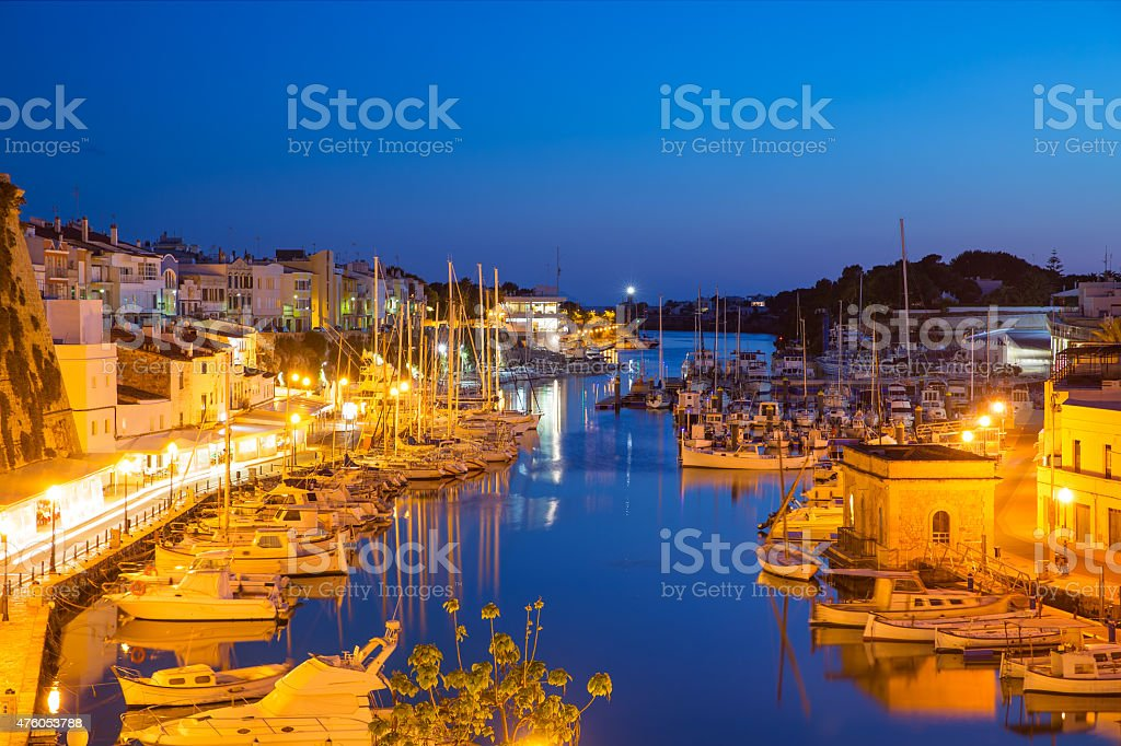 Ciutadella Menorca marina Port sunset town hall and cathedral stock photo