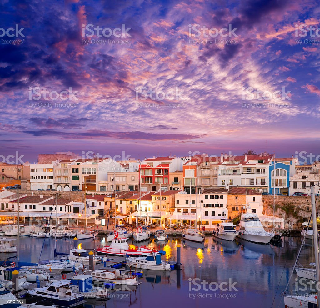 Ciutadella Menorca marina Port sunset with boats stock photo
