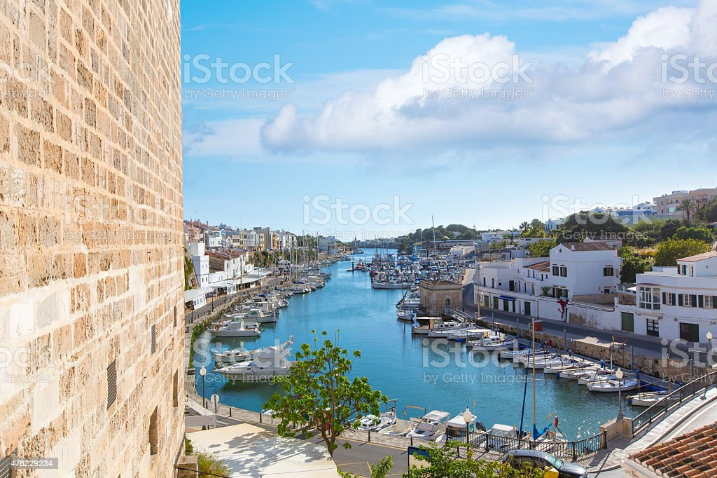 Ciutadella Menorca marina Port view Ciudadela stock photo