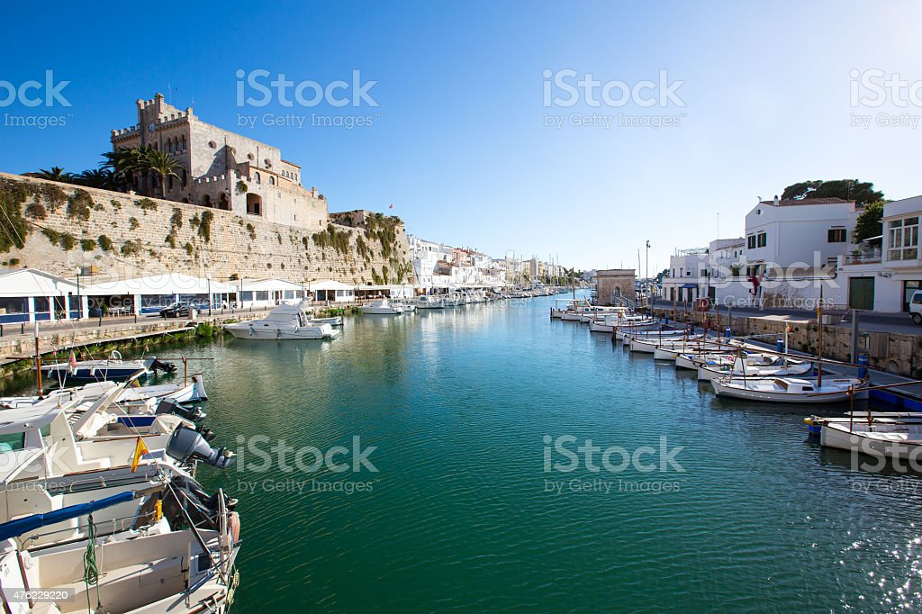 Ciutadella Menorca marina Port view Town hall stock photo