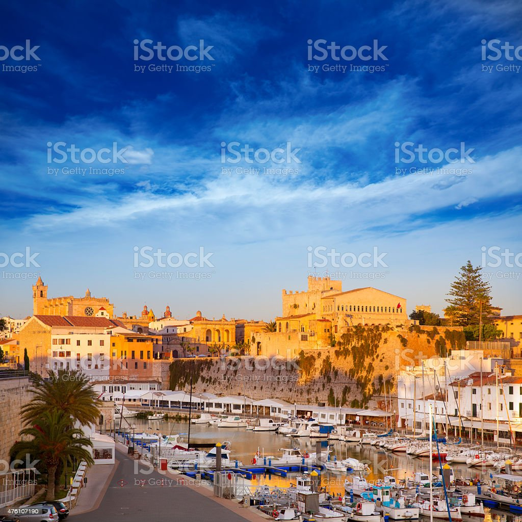 Ciutadella Menorca Port town hall and cathedral stock photo