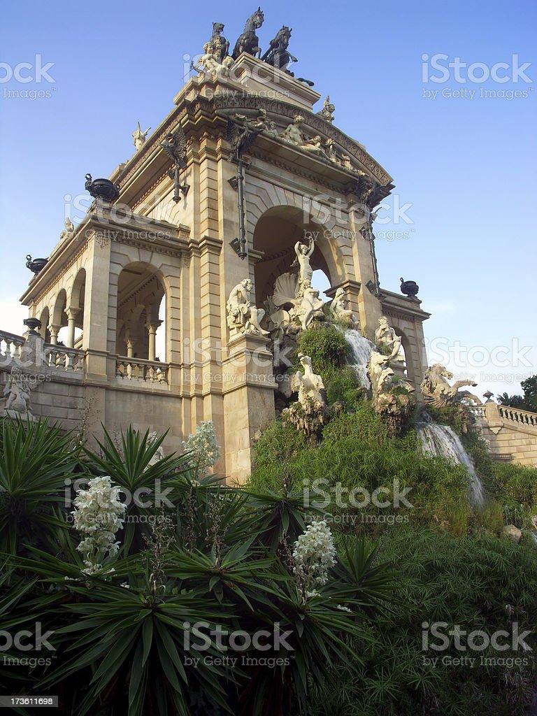 Ciutadella park waterfall fountain royalty-free stock photo