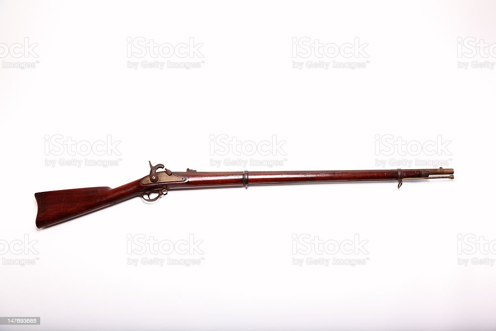 Civel War Musket + Clipping Path stock photo