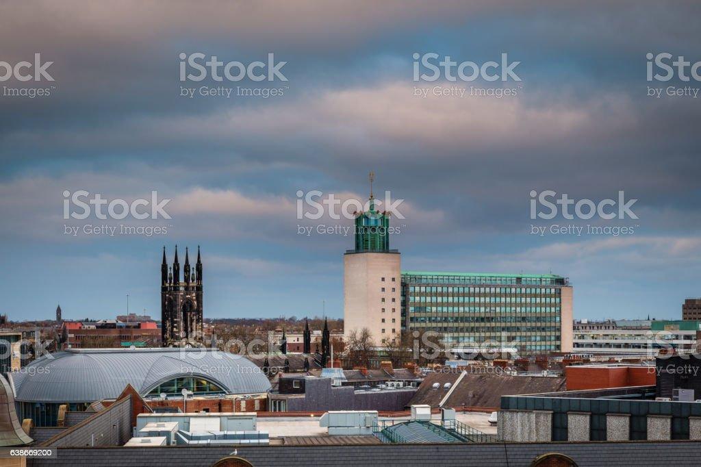 Civic Centre in Newcastle Skyline stock photo