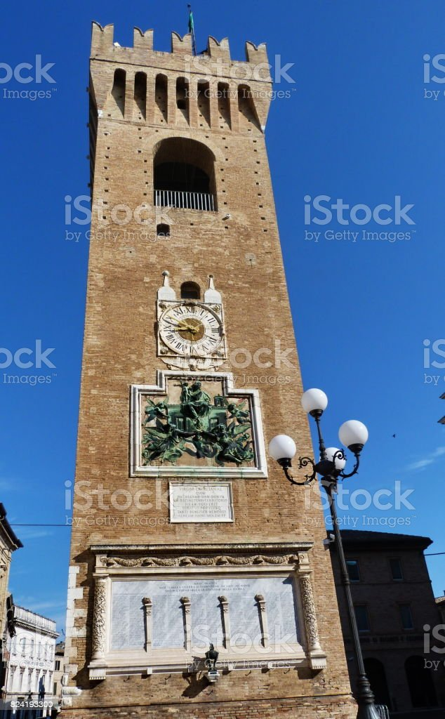 Civic Tower, Recanati stock photo