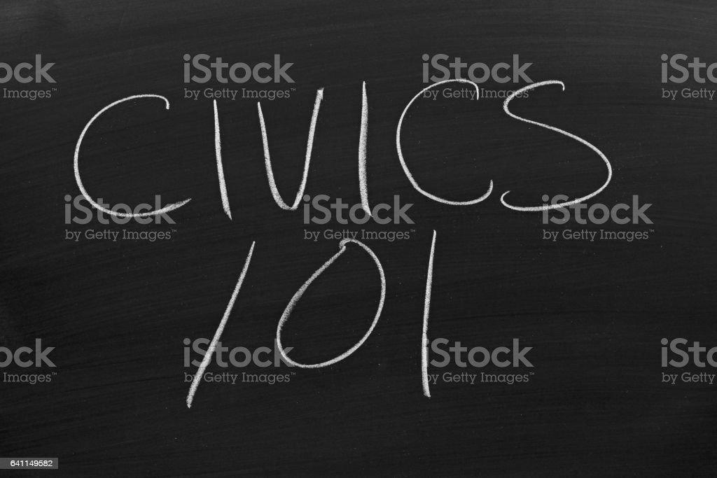 Civics 101 On A Blackboard stock photo