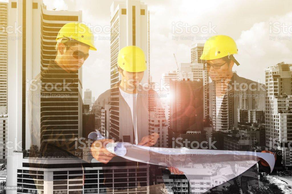 civil engineer stand on ground working stock photo