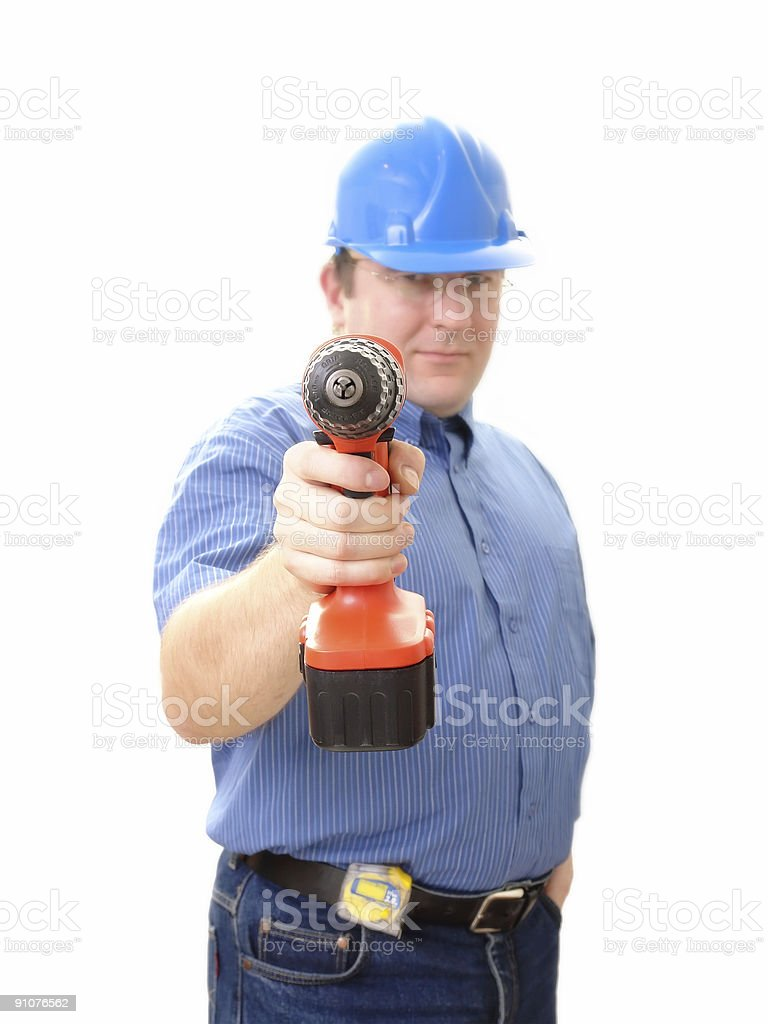 Civil engineer with driller royalty-free stock photo