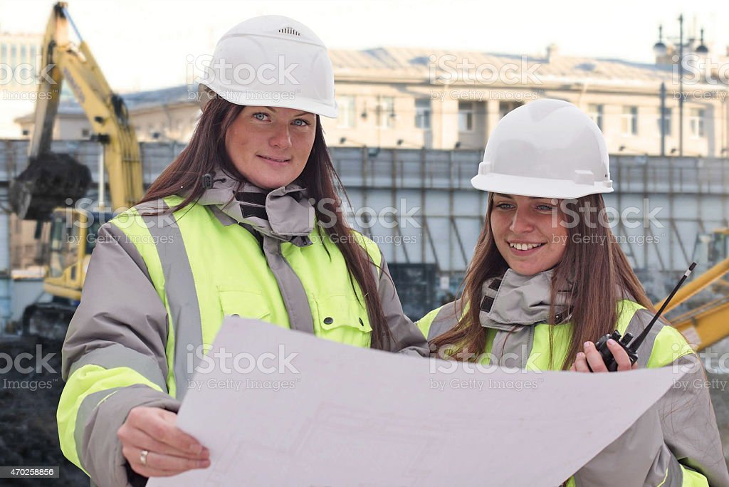 Civil Engineers At Consruction Site stock photo