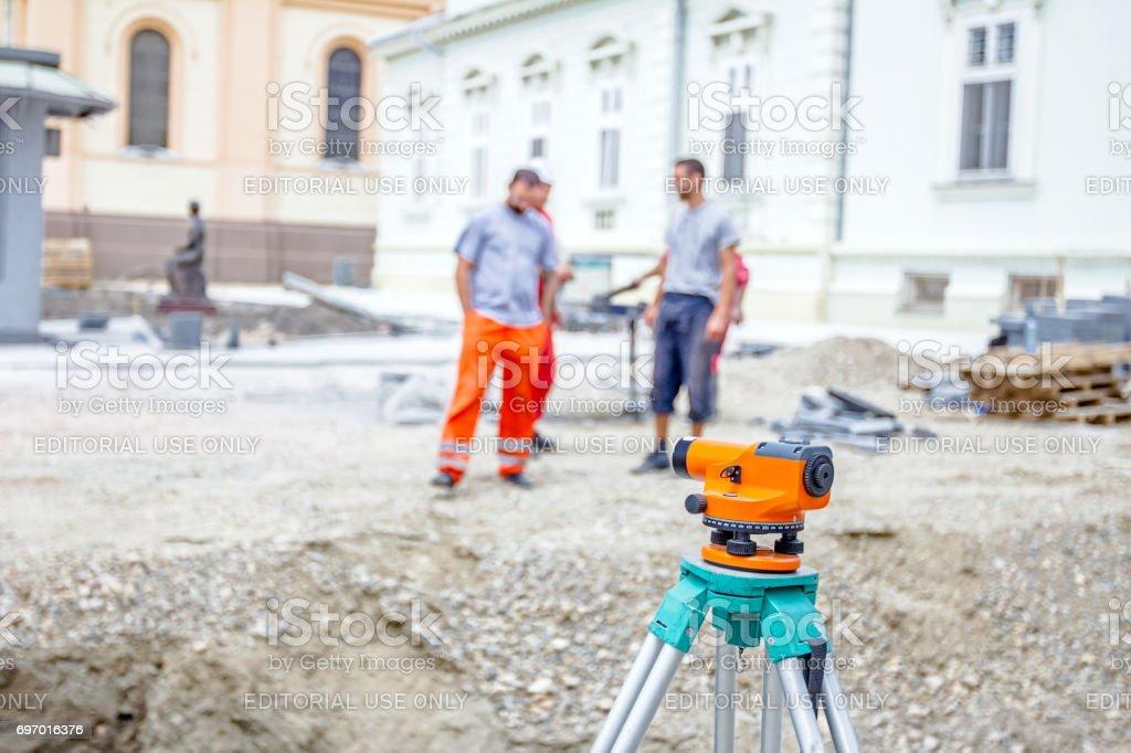 Zrenjanin, Vojvodina, Serbia - June 18, 2015: Surveyors ensure...