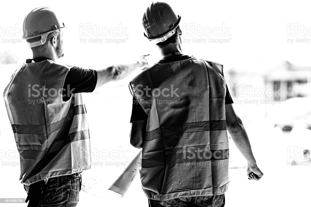 Civil engineers on a construction site stock photo