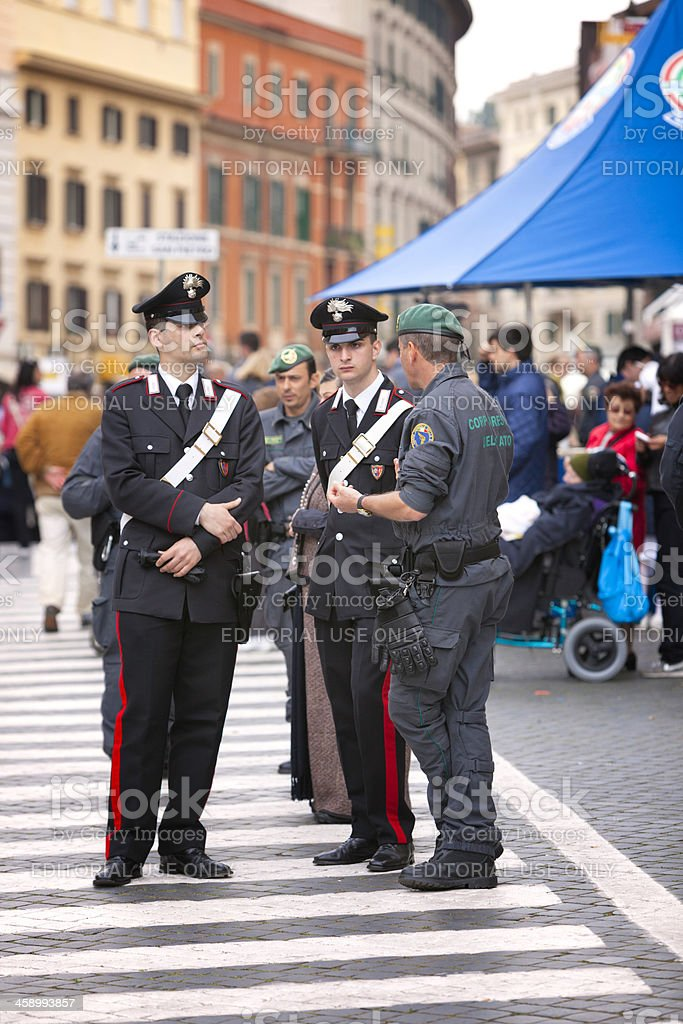 Civil guards on duty during beatification of Jean Paul II stock photo