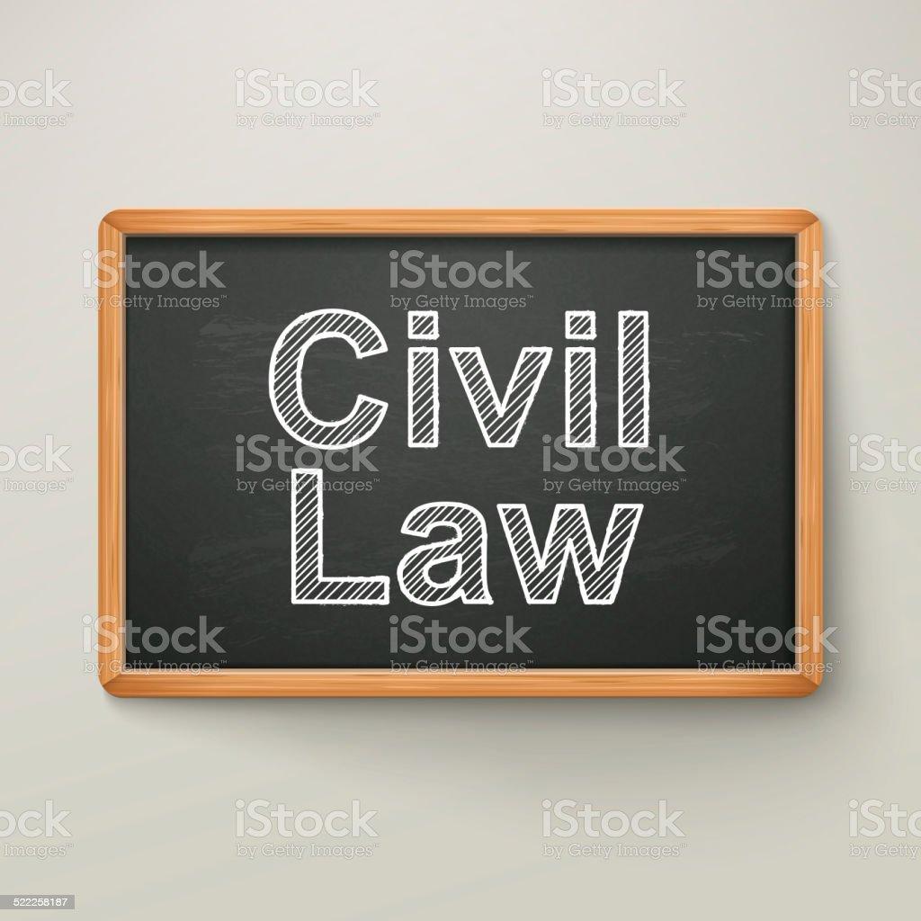 civil law on blackboard in wooden frame stock photo