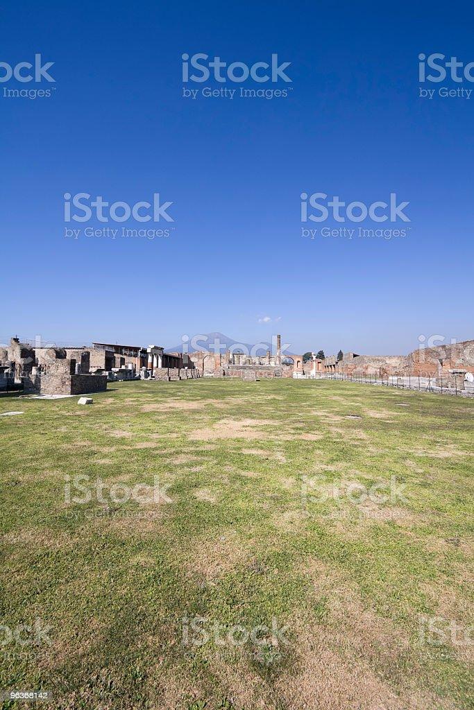 Civil Pompeii Forum with Mt. Vesuvius stock photo