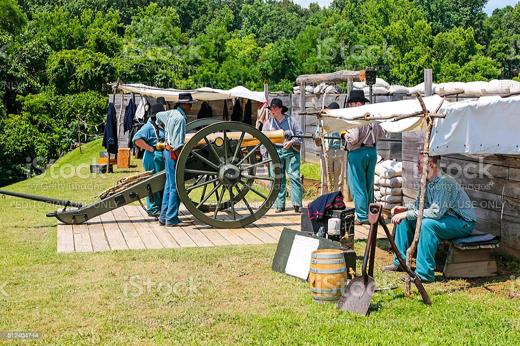 US Civil War Artillery reenactment in Vicksburg Mississippi stock photo