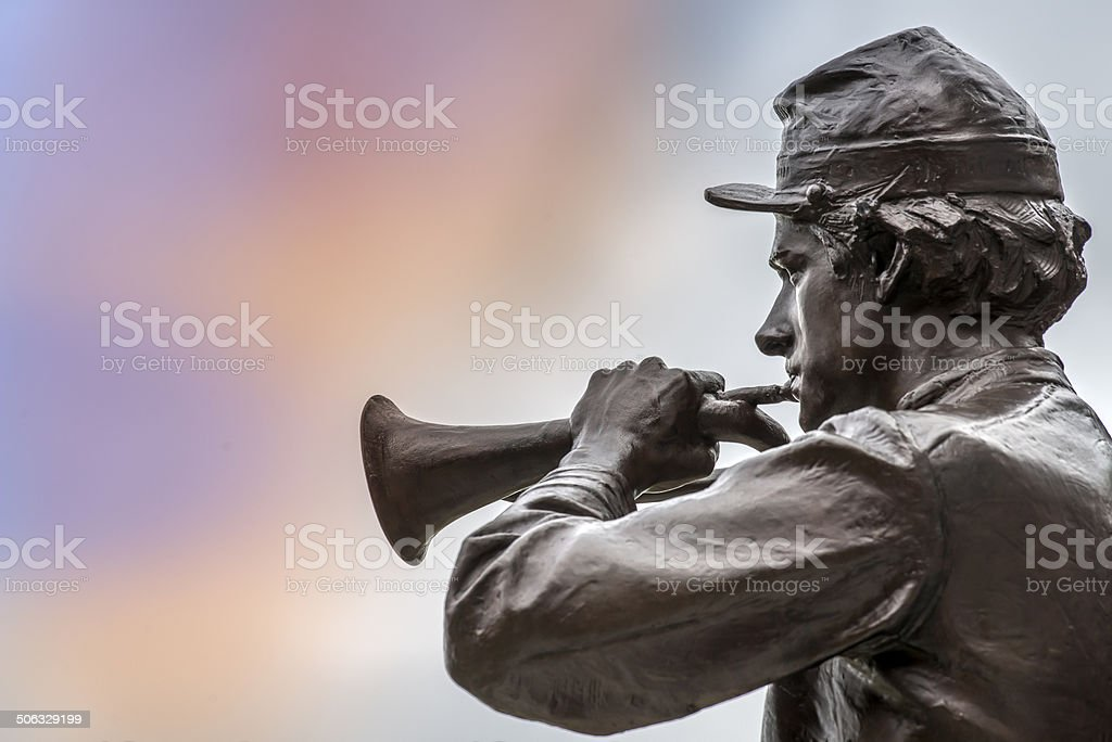 Civil War Bugler Statue in Bronze stock photo