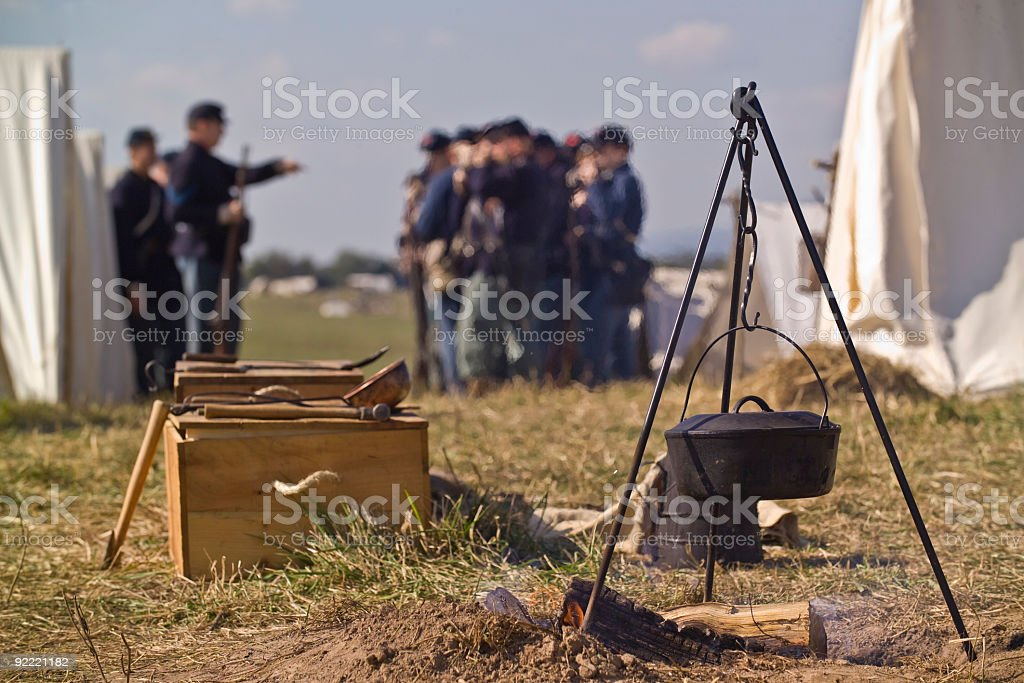 US Civil War Camp Focus in Foreground stock photo