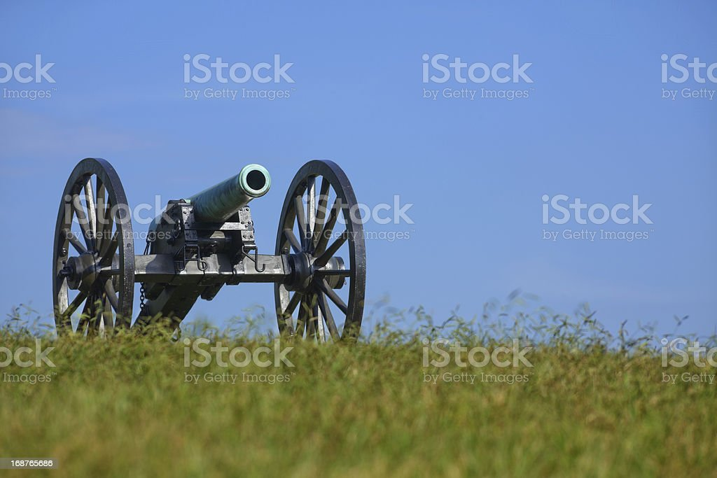 Civil War Cannon Against Clear Blue Sky stock photo