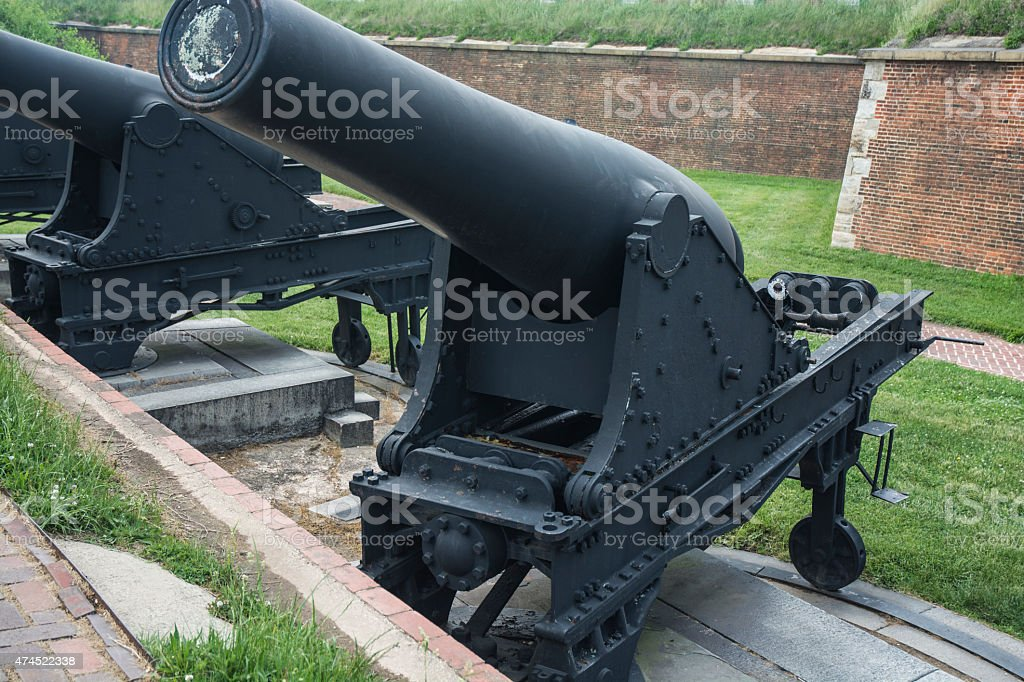 Civil War Cannon At Fort McHenry In Baltimore stock photo