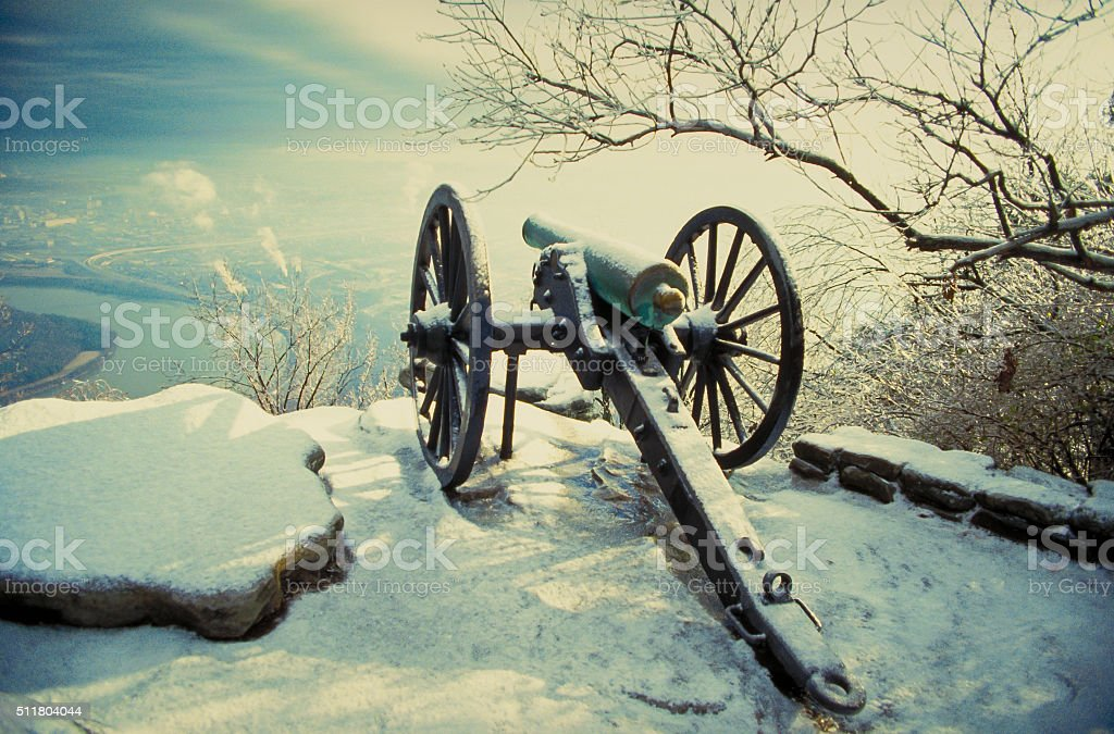 Civil War Cannon at Lookout Mountain over Chattanooga stock photo