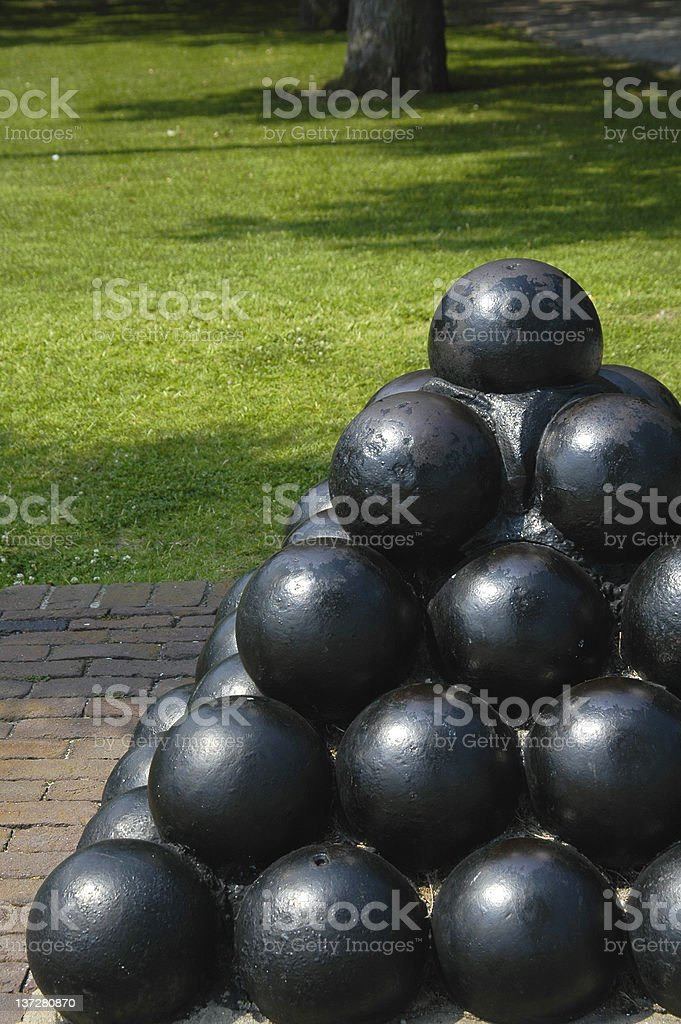Civil war cannon balls royalty-free stock photo