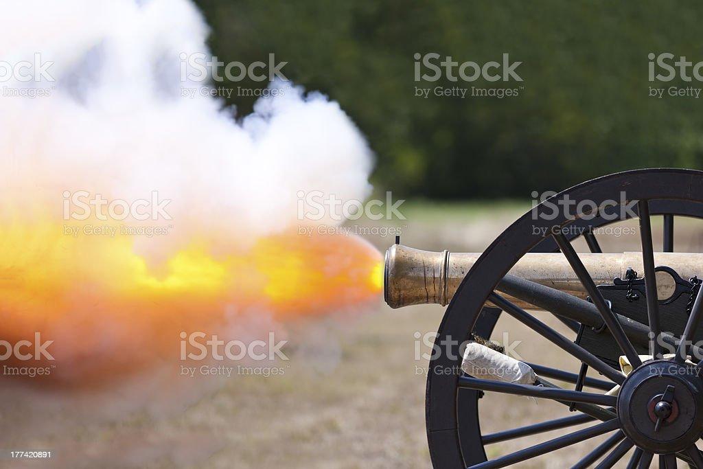 Civil War Cannon Firing stock photo