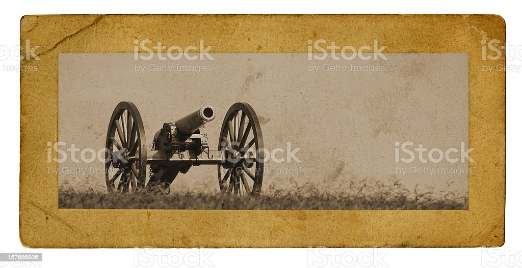 Civil War Cannon Photograph on Aged Carboard Frame stock photo