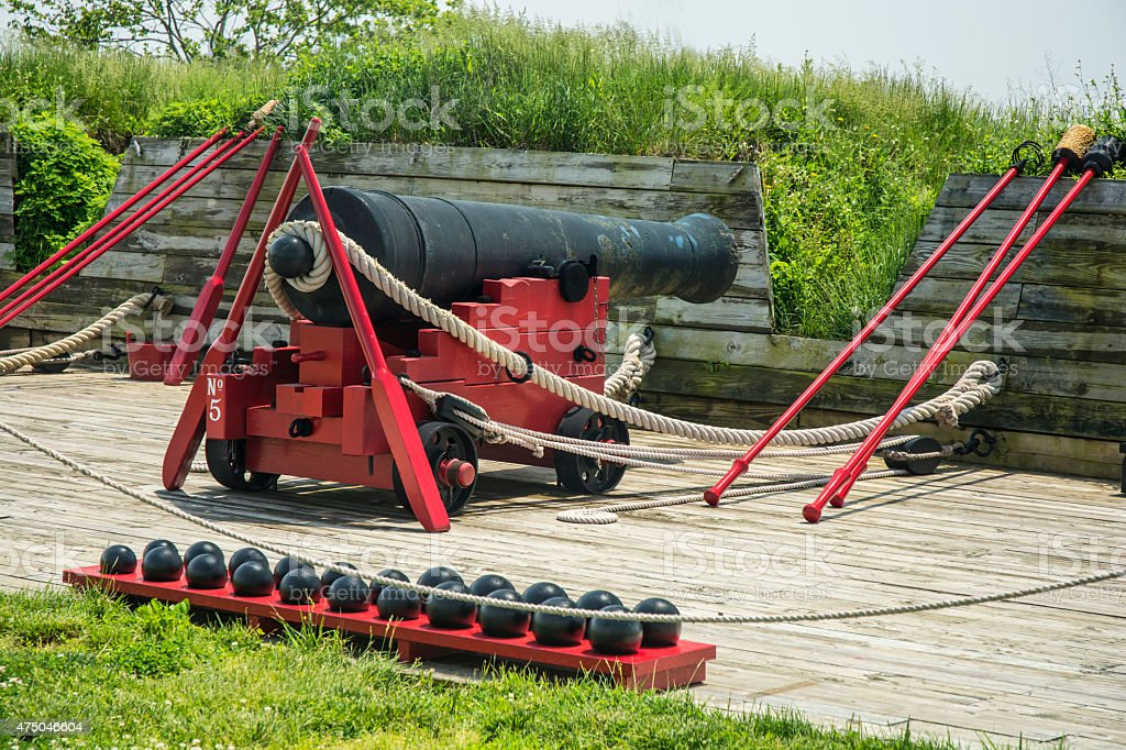Civil War Cannons At Fort McHenry In Baltimore stock photo