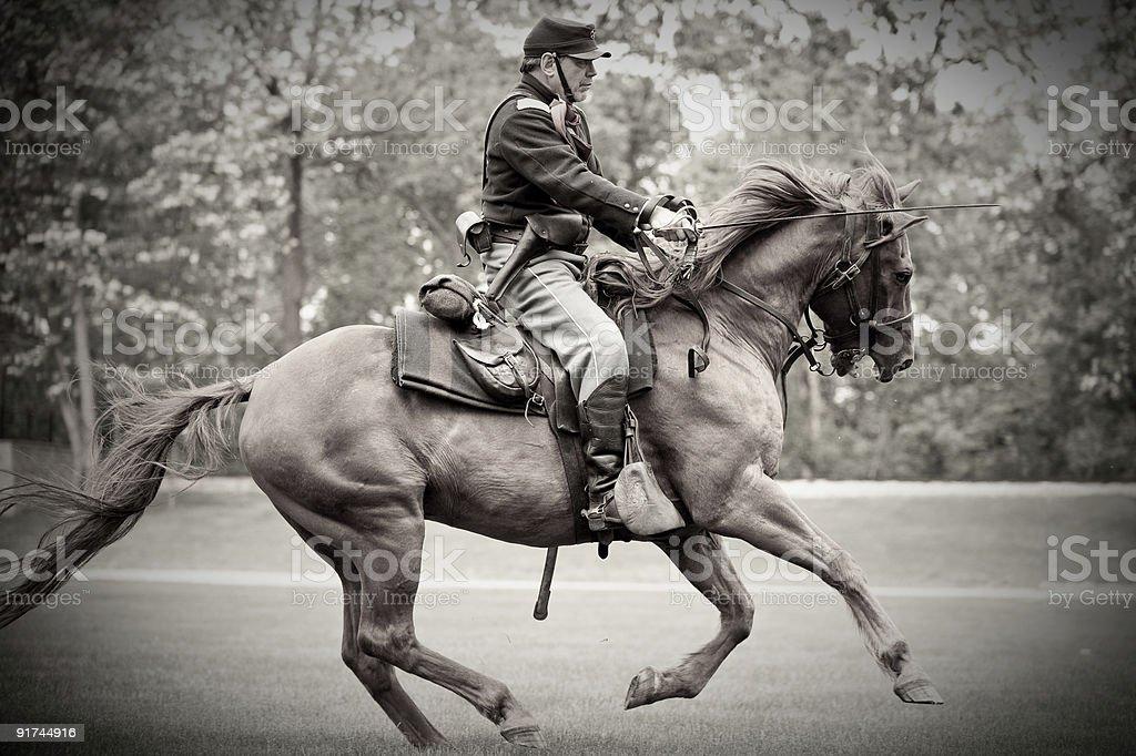 Civil War Captain Charging stock photo