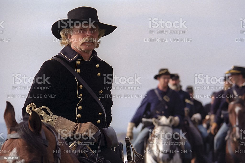 US Civil War Cavalry Led By General Custer stock photo