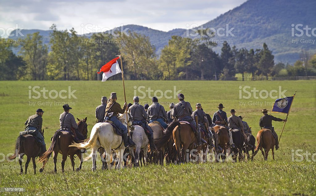 US Civil War Confederate Cavalry Ride Away in Shenandoah Valley stock photo