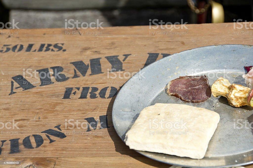 Civil war era army rations stock photo