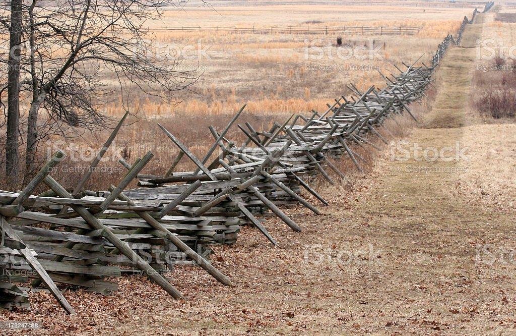 civil war fence line royalty-free stock photo