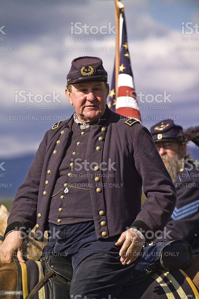 Civil War General and Staff on Battlefield in Virginia stock photo